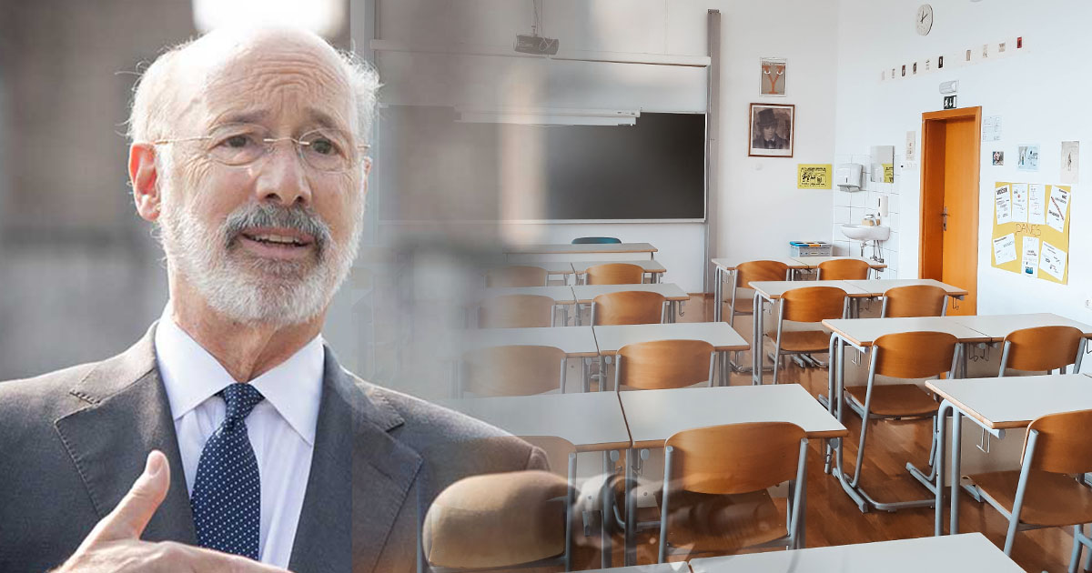 PA Governor Wolf and empty classroom collage